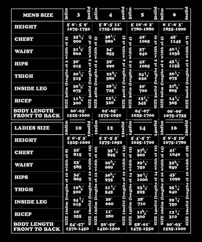 SEATEC Drysuit Wetsuit - Size Chart